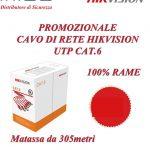 Promozione Cavo di Rete Hikvision UTP Cat. 6