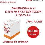 Promo Cavo di Rete Hikvision UTP Cat. 6